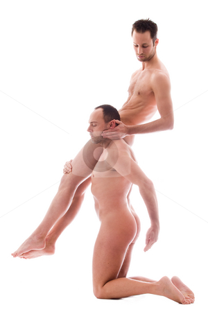 Dragiing you stock photo, Artistic nude forms with 2 powerfull men by Frenk and Danielle Kaufmann
