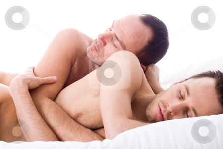 Sleeping 2 men stock photo, Happy homo couple in a white bed taking care of his boyfriend by Frenk and Danielle Kaufmann