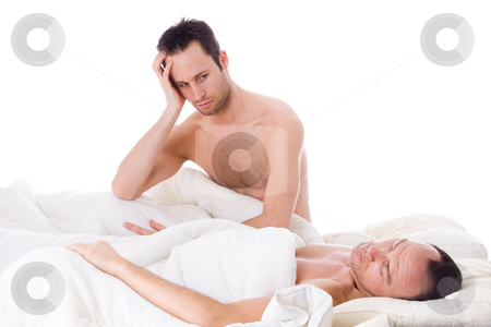Homo relation trouble stock photo, Happy homo couple in a white bed taking care of his boyfriend by Frenk and Danielle Kaufmann