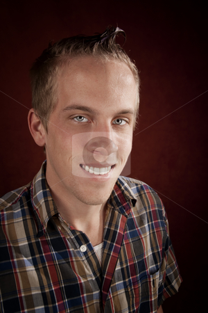 Portrait of Handsome Young Man stock photo, Portrait of handsome young blonde man in plaid shirt by Scott Griessel