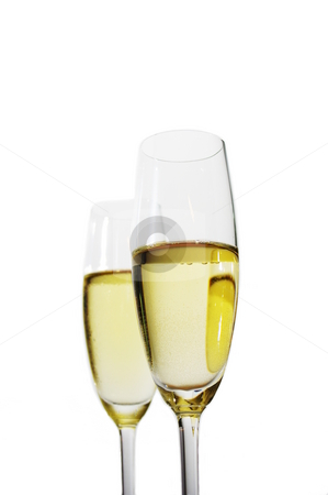 Sparkling wine stock photo, Two glasses of sparkling white wine by Martin Darley