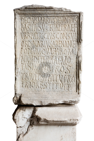 Engraved stone in Coliseum stock photo, Engraved stone in Coliseum with latin letters by Laurent Renault