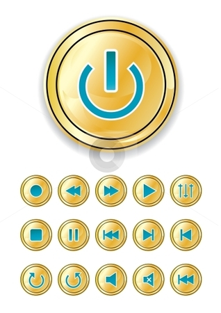 Shiny control buttons stock vector clipart, Vector Set of buttons for web design or media player by Milsi Art