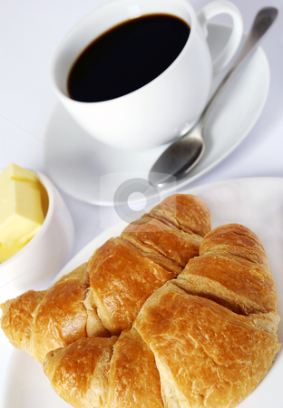 Coffee and croissants stock photo, Continental breakfast of coffee and croissants by Paul Turner