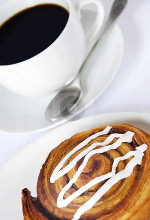 Coffee and danish pastry stock photo, Fresh coffee and tasty danish pastry by Paul Turner