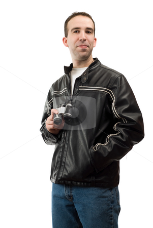 Bird Watcher Portrait stock photo, A young bird watcher posing for his portrait, isolated against a white background by Richard Nelson
