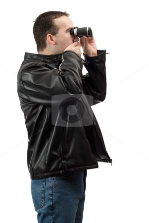 Shocked Spectator stock photo, A shocked spectator covering his mouth while looking through a pair of binoculars, isolated against a white background by Richard Nelson
