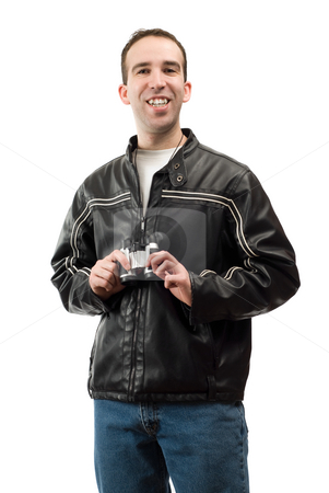 Happy Bird Watcher stock photo, A happy bird watcher is smiling and holding binoculars, isolated against a white background by Richard Nelson