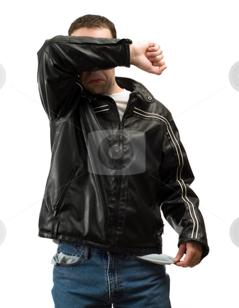 Unemployment stock photo, A broke man suffering from unemployment is holding out his empty pocket in embarrassment, isolated against a white background by Richard Nelson