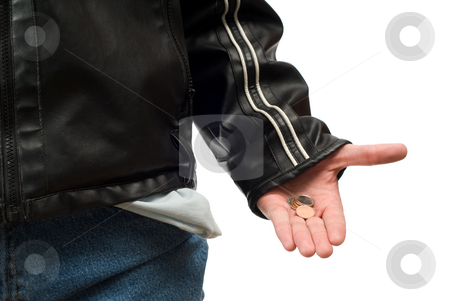Little Change stock photo, Closeup view of someone showing the little bit of money left in their pocket, isolated against a white background by Richard Nelson