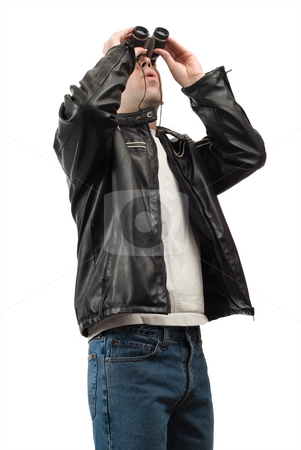Bird Watching stock photo, A young man using a pair of binoculars to do some bird watching, isolated against a white background by Richard Nelson