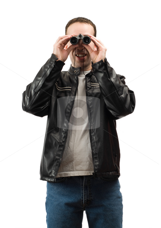 Man Watching stock photo, A young man watching something with a set of binoculars, isolated against a white background by Richard Nelson