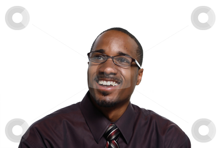 Man Smiling - Horizontal stock photo, Attractive young man smiling at the camera. Isolated against a white background by Orange Line Media
