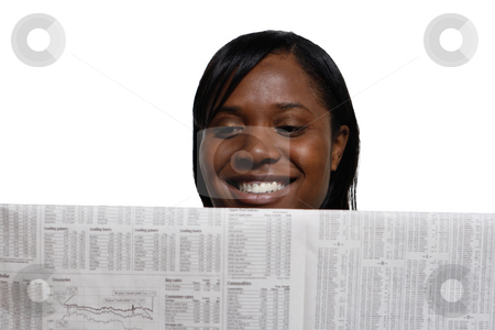Woman Smiling stock photo, Woman smiling while reading the paper. Horizontal shot, isolated against a white background by Orange Line Media