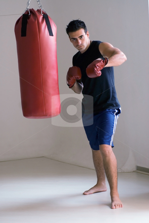 Boxer's Workout stock photo, Athlete / boxer, looking straight into the camera, wearing gloves standing next to a heavy bag. by Orange Line Media