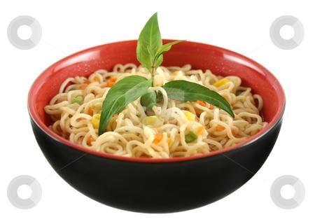 Noodle Soup stock photo, Delicious Singapore noodle soup with Vietnamese mint. by Brett Mulcahy