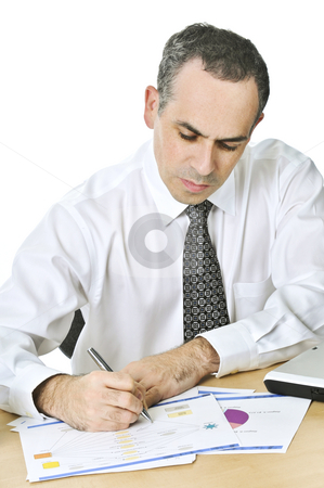 Office worker studying reports stock photo, Serious office worker reviewing generic reports at his desk by Elena Elisseeva