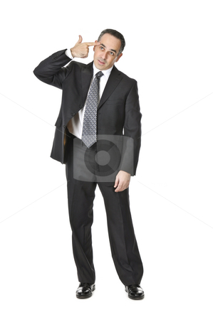 Businessman on white background stock photo, Businessman in a suit gesturing suicide isolated on white background by Elena Elisseeva