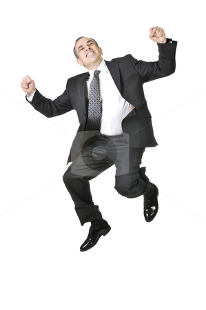 Businessman on white background stock photo, Jumping businessman in a suit isolated on white background by Elena Elisseeva