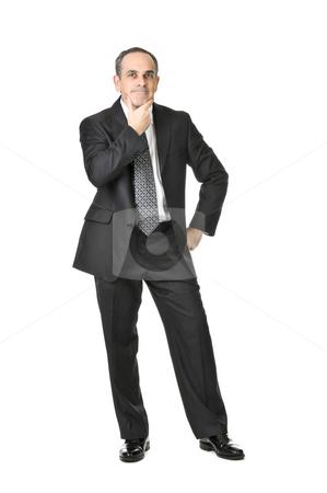 Businessman on white background stock photo, Thinking businessman in a suit isolated on white background by Elena Elisseeva