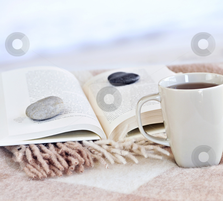 Relaxing reading with tea stock photo, Relaxing with a book and cup of tea at the beach by Elena Elisseeva