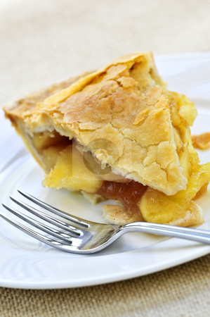 Slice of apple pie stock photo, Slice of fresh apple pie on a plate by Elena Elisseeva