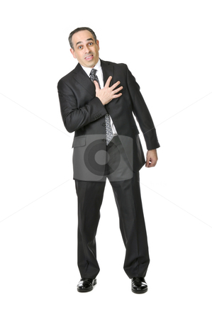 Businessman on white background stock photo, Businessman in a suit pretending to have a heart attack isolated on white background by Elena Elisseeva