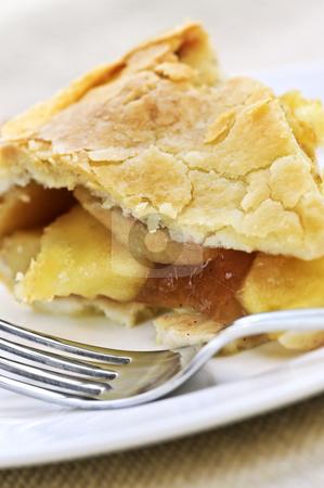 Slice of apple pie stock photo, Slice of fresh apple pie on a plate by Elena Elisseeva