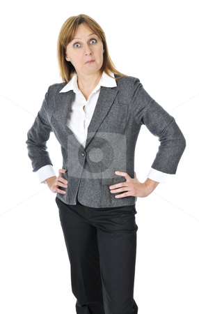 Businesswoman on white background stock photo, Business woman acting surprised isolated on white background by Elena Elisseeva