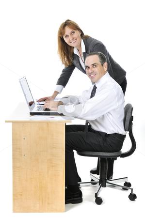 Business team on white background stock photo, Business team working together isolated on white background by Elena Elisseeva