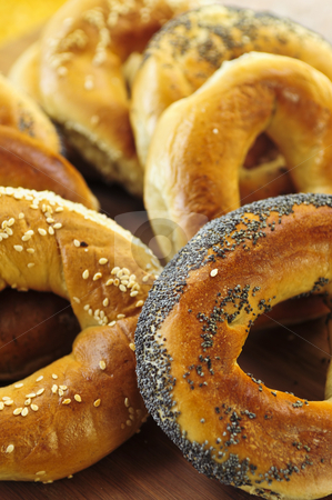 Fresh bagels stock photo, Variety of fresh Montreal style bagels close up by Elena Elisseeva