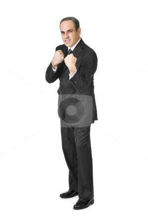 Businessman on white background stock photo, Businessman in a suit ready to fight isolated on white background by Elena Elisseeva