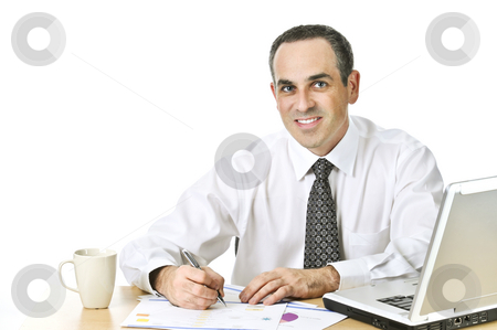 Office worker studying reports stock photo, Happy office worker reviewing generic reports at his desk by Elena Elisseeva