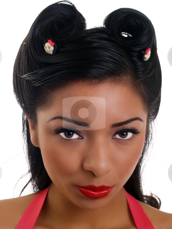 Closeup portrait young hispanic woman with red lipstick  stock photo, Young latina woman portrait with skull hair pins by Jeff Cleveland