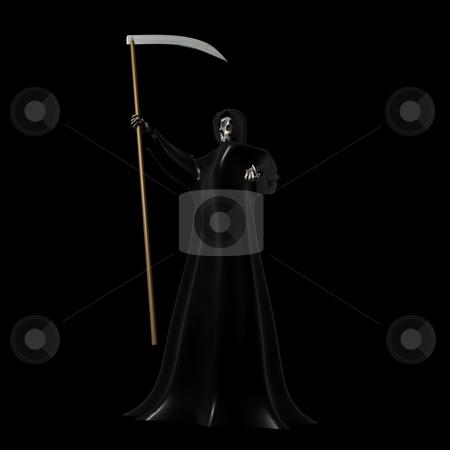 Grim Reaper on Black stock photo, Grim Reaper on a Black Background 3D by John Teeter