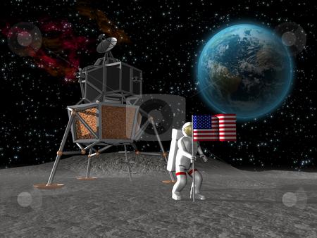 Astronaut planting flag on moon stock photo, Astronaut planting american flag on the moon by John Teeter