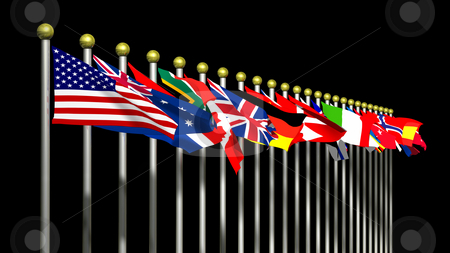 World Flags on Black Background stock photo, World Flags on a Black Background 3D by John Teeter