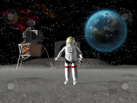 Astronaut on the moon stock photo, Astronaut on the moon with earth in background by John Teeter