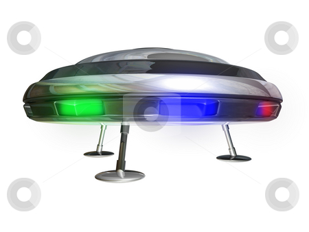 UFO on White stock photo, UFO on a white background 3D illustration by John Teeter