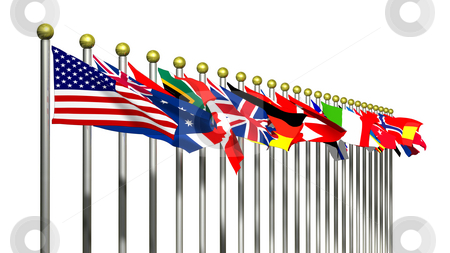 World Flags on a white background stock photo, World Flags on a White Background by John Teeter