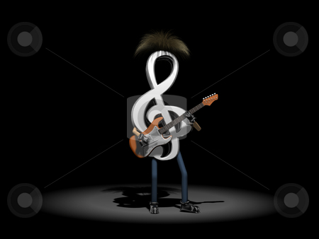 Musical Note Playing Guitar stock photo, Musical Note Playing Guitar in spotlight by John Teeter
