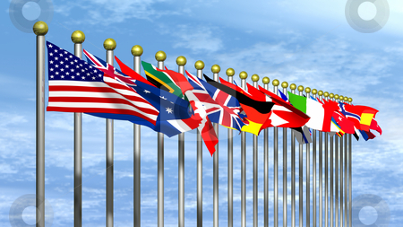 World Flags with Blue Sky stock photo, World Flags with a Blue Sky Background by John Teeter