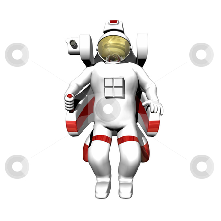 Astronaut in booster pack on white stock photo, Astronaut in booster pack on a white background by John Teeter