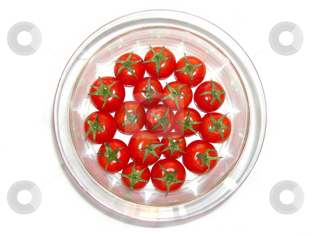 Tomatoes stock photo, Red fresh cherry tomatoes in glass plate over white isolated by Julija Sapic