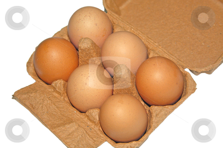 6 Eggs in carton stock photo, Six eggs displayed in a carton by Chris Alleaume