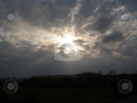 SunCloud stock photo, This was taken in March 2009, Sun in the clounds about a valley in Middle Tennessee. by Jamie English