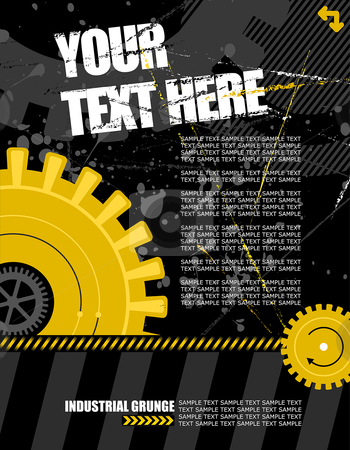 Cog works - portrait stock vector clipart, Vector illustration - industrial background with plenty of copy space for your text by Paul Turner