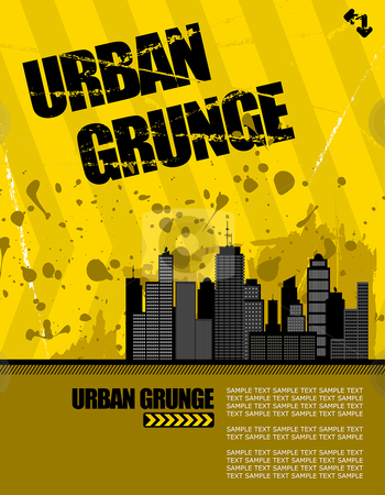 Urban grunge stock vector clipart, Vector illustration of a grunge urban setting. buildings have lots of detail. by Paul Turner