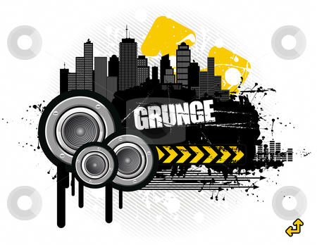 Grunge in the city stock vector clipart, Vector illustration - grungy urban audioscape by Paul Turner