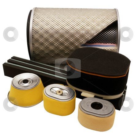 Filters stock photo, A collection of car filters isolated on white by Paul Phillips